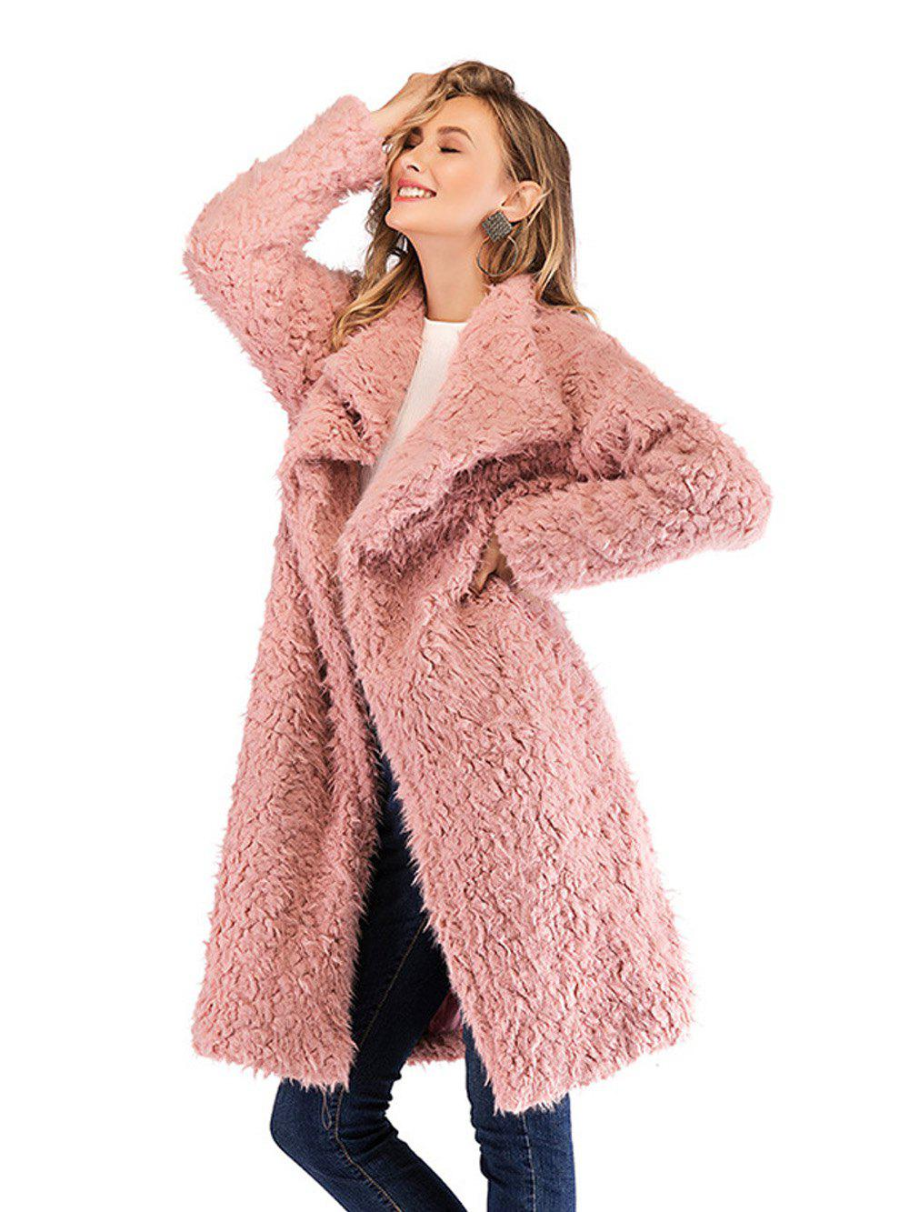 e82a5643c3b Wo Women Elegant Faux Fur Lapel Coat Women Fluffy Warm Long Sleeve Female  Outerwear Chic Winter Coat Jacket Lamb Long Overcoat - L