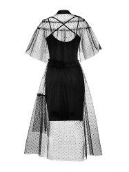 Hepburn Vintage Series Women Dress Spring And Summer Lapel Hollow Out Lace-stitching Design Short Sleeve Corset Retro Dress -
