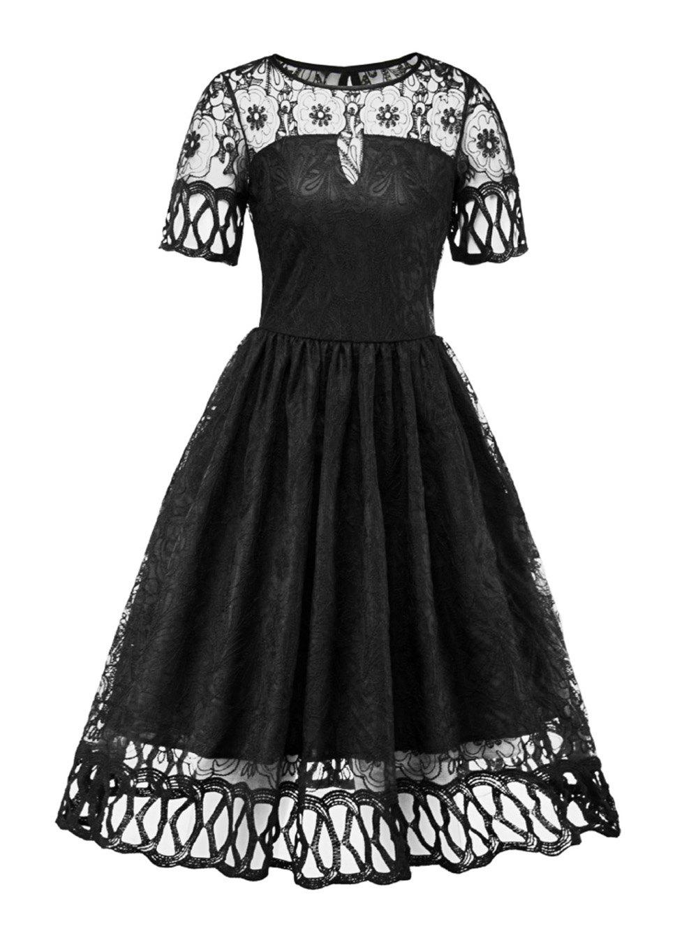 Unique Hepburn Vintage Series Women Dress Spring And Summer Round Neck Hollow Out Lace-stitching Design Short Sleeve Corset Retro Dress