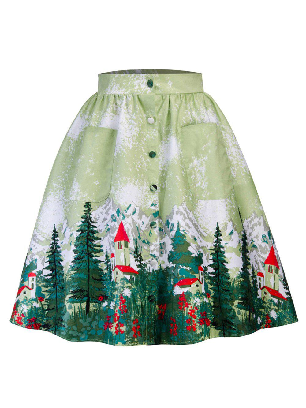 Outfits Hepburn Vintage Series Women Skirt Spring And Summer Trees Printing Button Fly Pocket Design Corset Retro Skirt