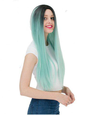 Women's Fashion Long Straight Highlights Hair Wig Colorful Casual Party Wig