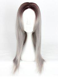 Women's Fashion Long Straight Highlights Hair Wig Colorful Casual Party Wig -