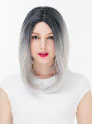 Women's Colorful Highlights Natural Straight Hair Wig Ladies Casual Short Wig -