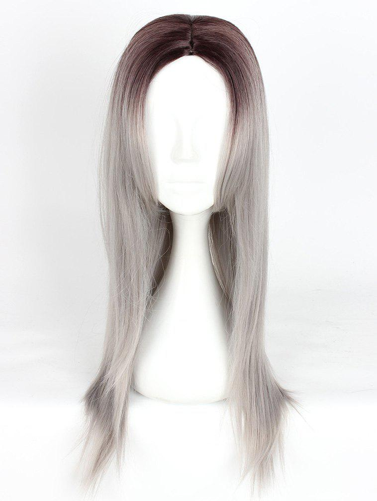 New Women's Fashion Long Straight Highlights Hair Wig Colorful Casual Party Wig