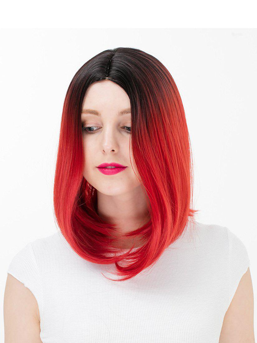 Online Women's Colorful Highlights Natural Straight Hair Wig Ladies Casual Short Wig