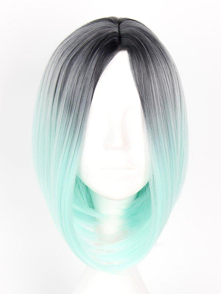 New Women's Colorful Highlights Natural Straight Hair Wig Ladies Casual Short Wig