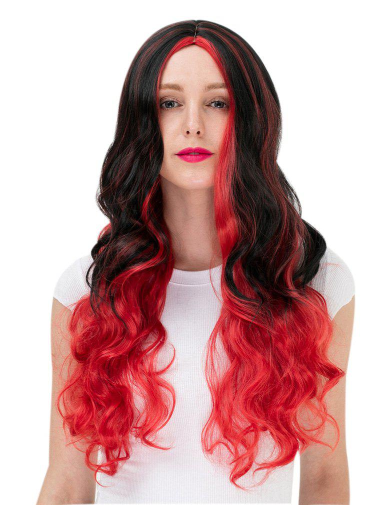 2019 Women s Fashion Colorful Highlights Wavy Hair Ladies Party Wigs ... d8a351f4fd