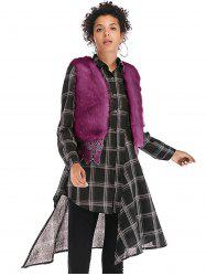 Women  Faux Mink Cashmere Winter Fur Shawl Cape  Overcoat Vest Fur Coat -