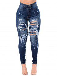 Womens Fashion High Waist Jeans Broken Hole Slim Body Jeans -