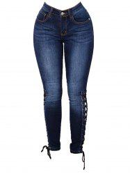 Womens Fashion High Waist Jeans Bandages Elastic Slim Body Jeans -