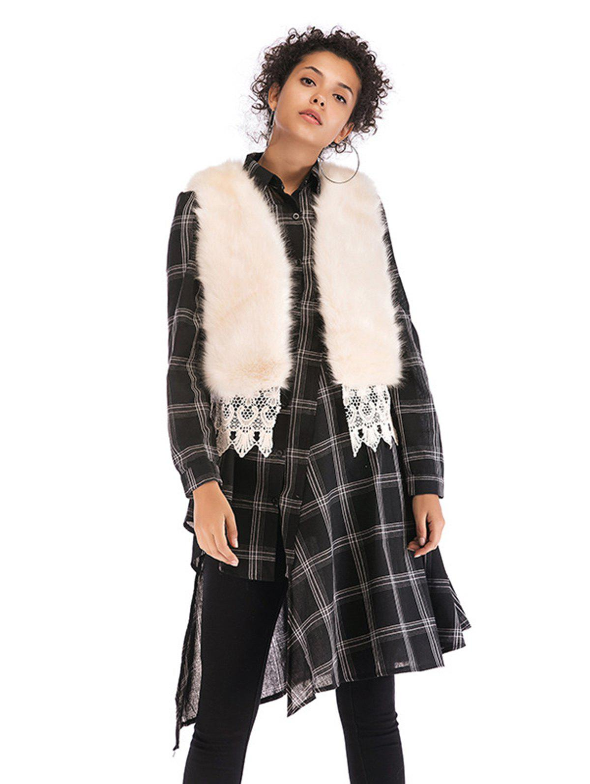 Hot Women  Faux Mink Cashmere Winter Fur Shawl Cape  Overcoat Vest Fur Coat