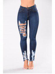 Womens Fashion Ripped Ripped Jeans  High Elastic Pencil Sexy Jeans Pants -