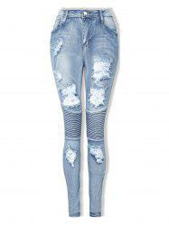 Womens Fashion Ripped Ripped Jeans Sexy Long Elastic Pencil Pants -