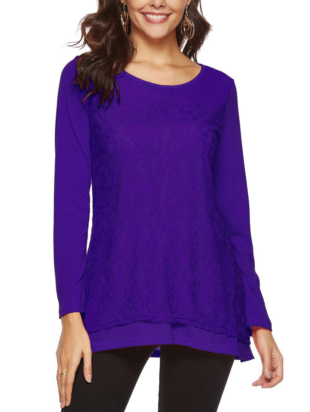 Latest Round Collar Long Sleeve Lace Patchwork T-shir