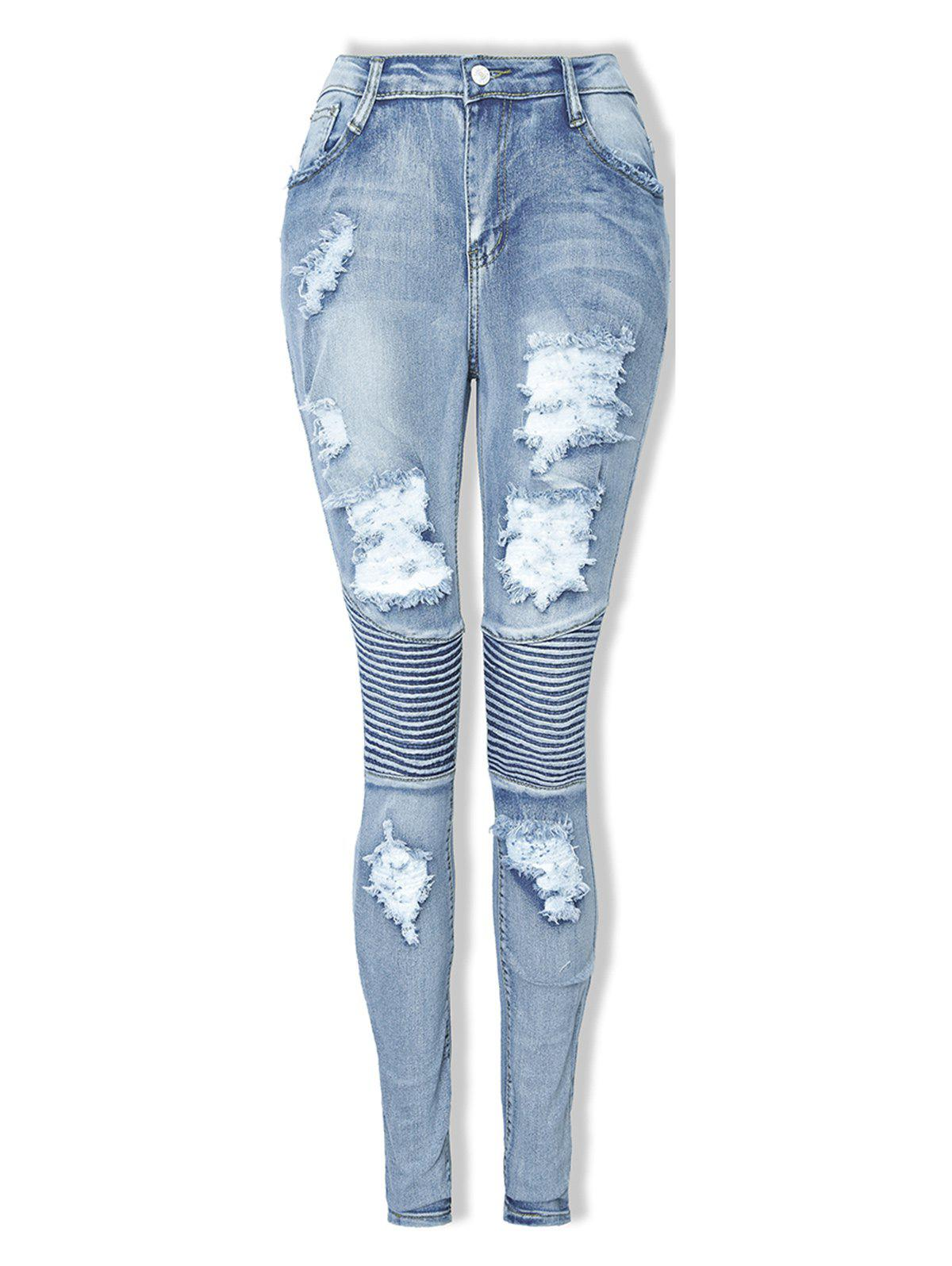 Chic Womens Fashion Ripped Ripped Jeans Sexy Long Elastic Pencil Pants