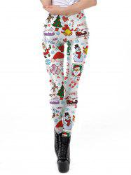 Womens Christmas Leggings 3D Design Printing Elastic  Pants -