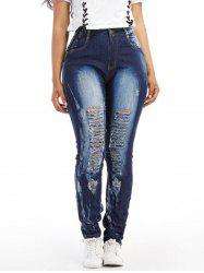 Womens Trousers  High Waist Jeans Hole Denim Stretchy Skinny Slim Pencil Pants -