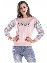 Women Fashion Floral Splice Long Sleeve Blouse Top Pullover Casual Christmas T Shirt -