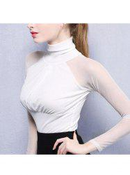 Women Elegant Fashion High Collar Top Women Sexy   Long Perspective Sleeve Female T-shirt -