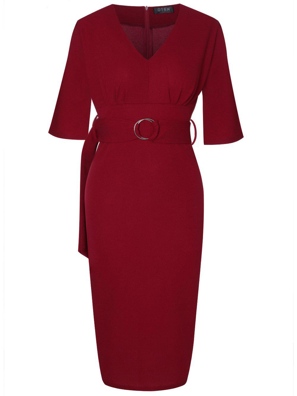 Shop V Neck 7 Points Sleeves Slim Dress With A Belt