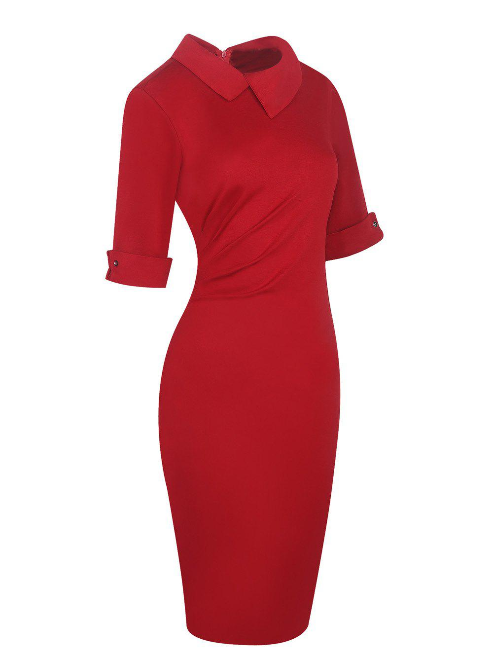 Latest Half Sleeve Lapel Pencil Dress
