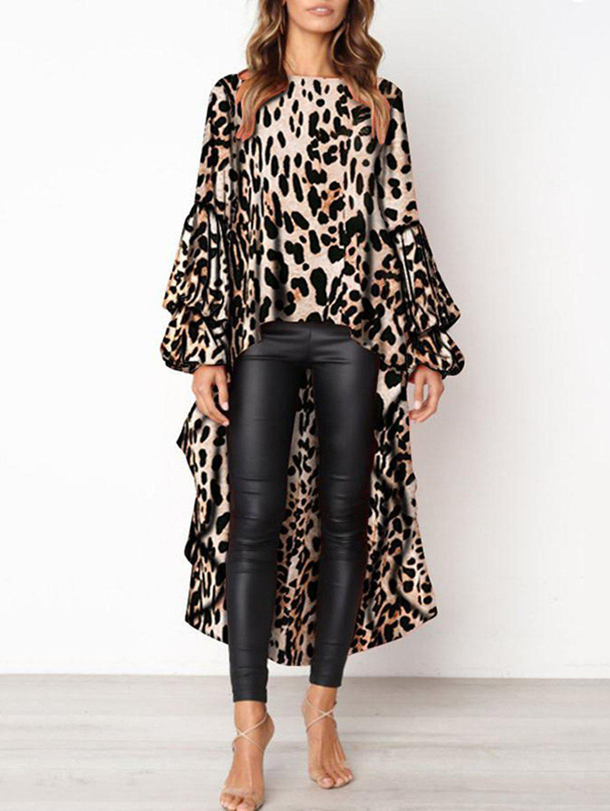 Unique 2018 Womens Leopard Print Asymmetrical Long Sleeved Dress Ruffle Dinner Dress