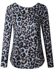 Women Casual Long Sleeve Blouse Ruched Shirt Sexy Leopard Grain Tops -