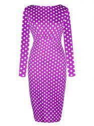 Dot Printed Round Neck Long Sleeves Ruffled Pencil Dress -