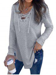 Womens V Neck Long Sleeve Loose Casual Knit Sweaters Pullover Tops -