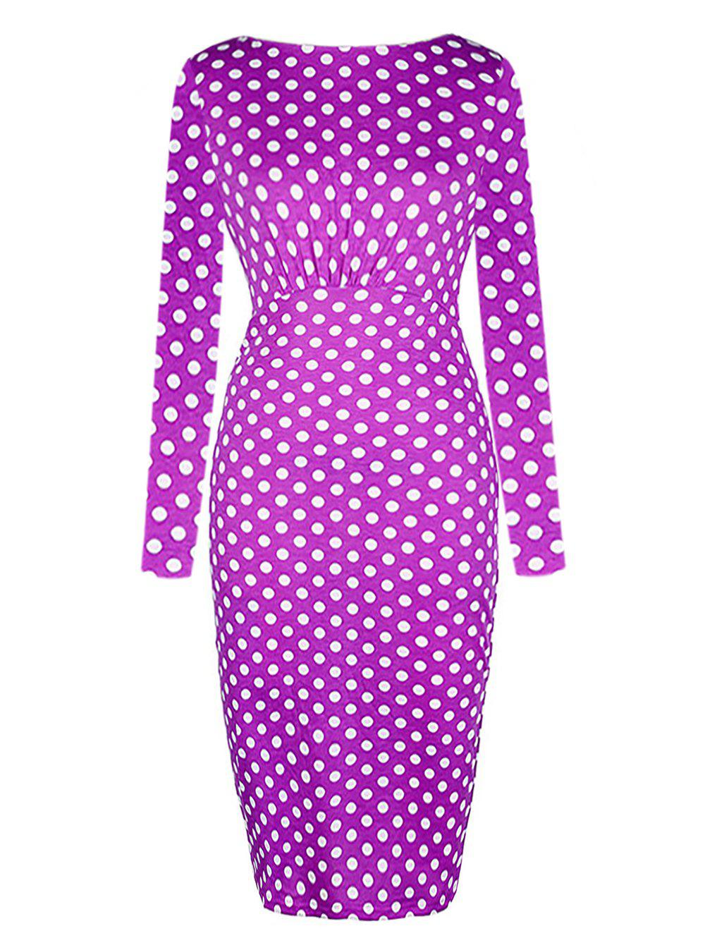 Fashion Dot Printed Round Neck Long Sleeves Ruffled Pencil Dress