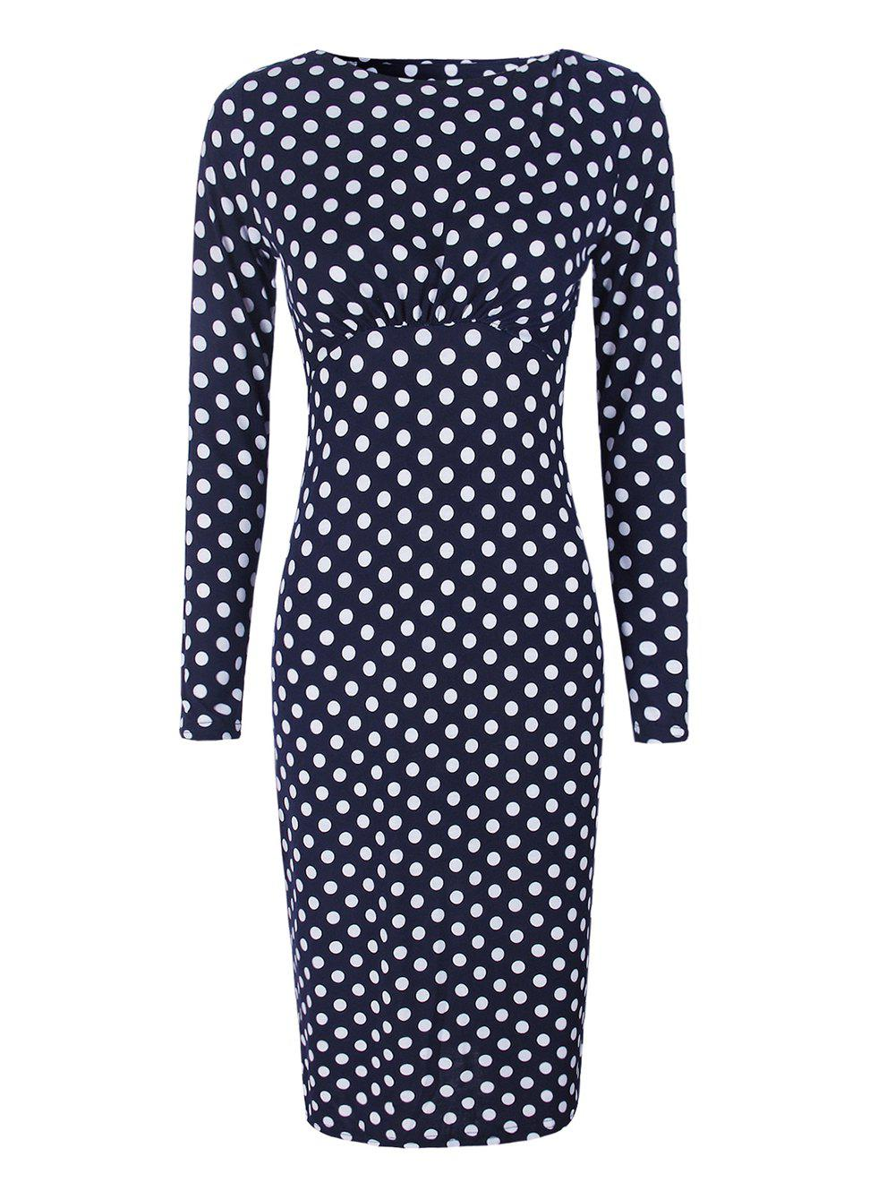 Latest Dot Printed Round Neck Long Sleeves Ruffled Pencil Dress