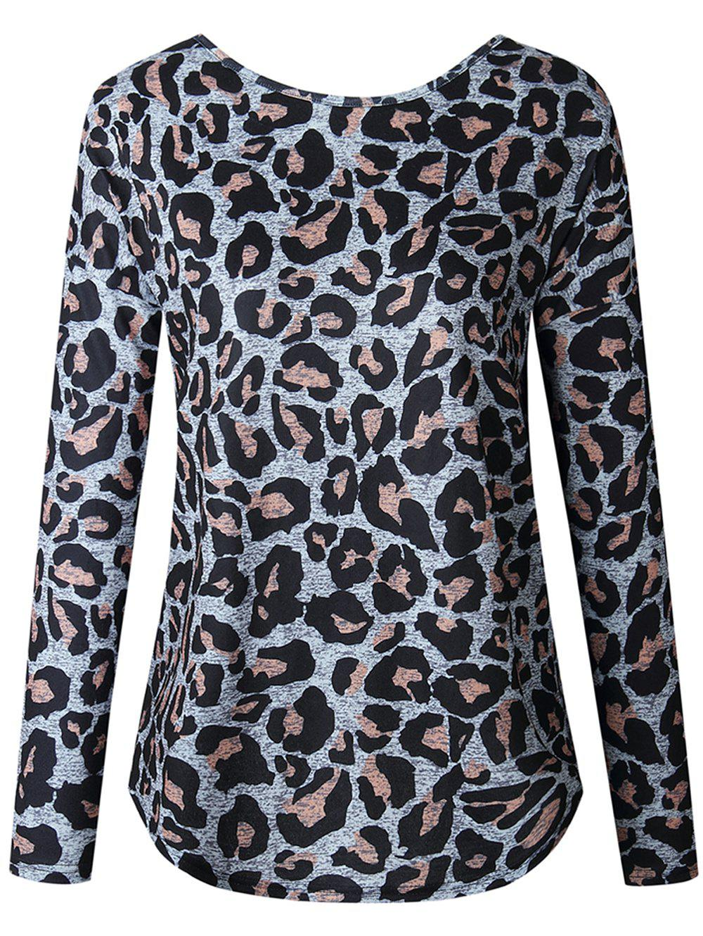 Affordable Women Casual Long Sleeve Blouse Ruched Shirt Sexy Leopard Grain Tops