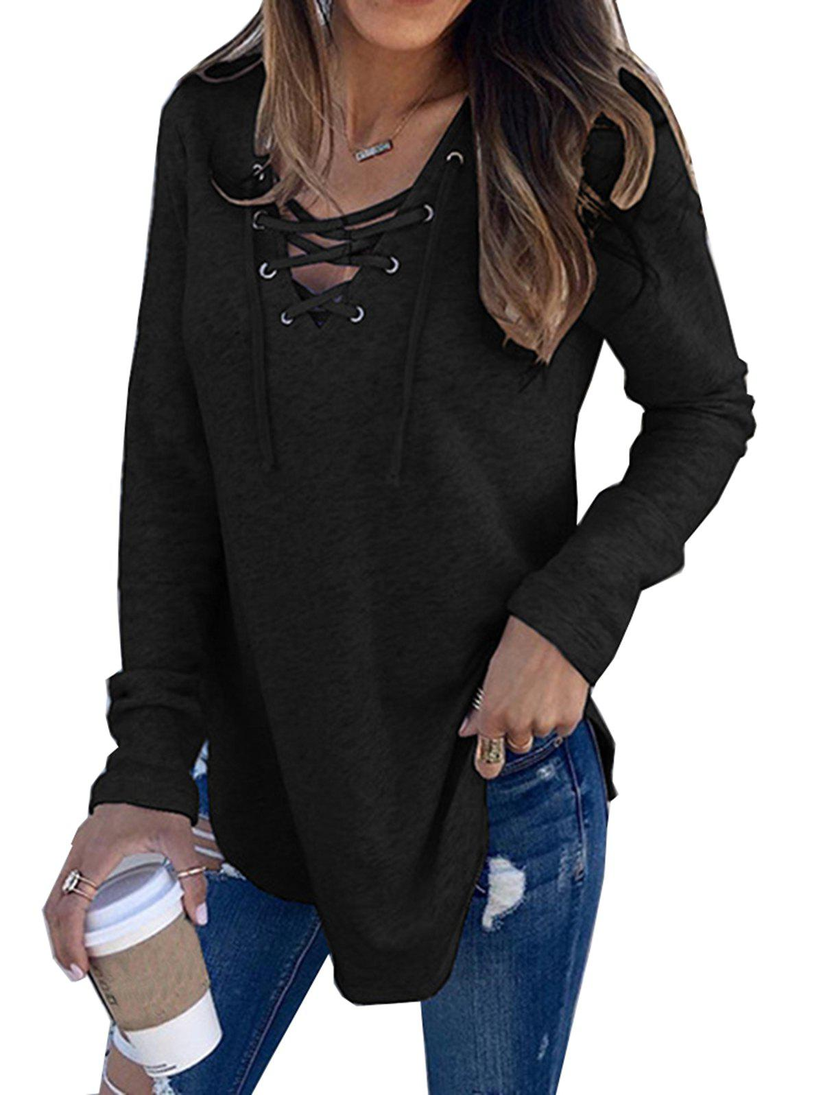 Sale Womens V Neck Long Sleeve Loose Casual Knit Sweaters Pullover Tops