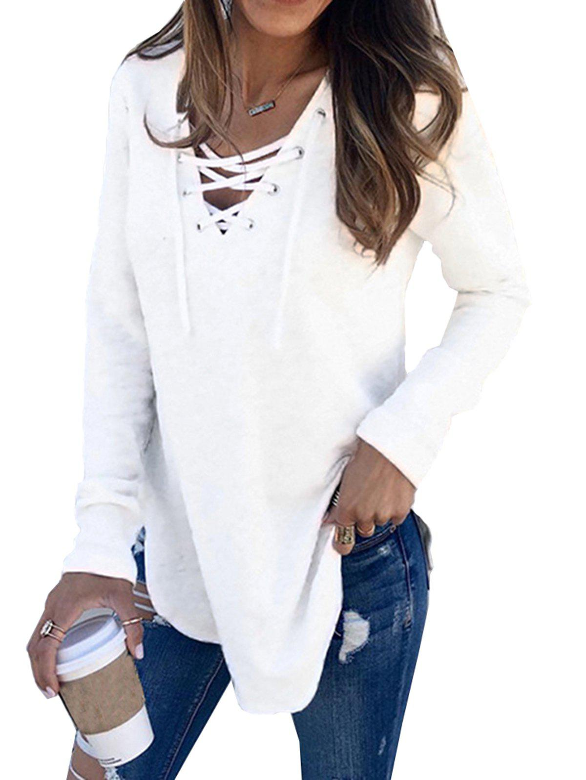 2972d0b547604 58% OFF   2019 Womens V Neck Long Sleeve Loose Casual Knit Sweaters ...