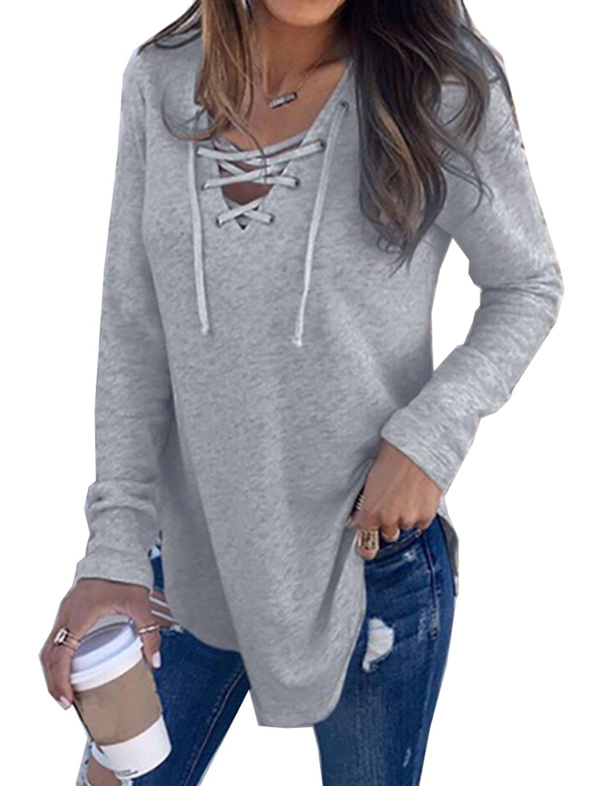 New Womens V Neck Long Sleeve Loose Casual Knit Sweaters Pullover Tops