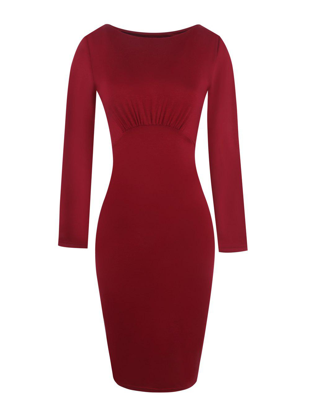 Store Round Neck Long Sleeves Ruffled Pencil Dress