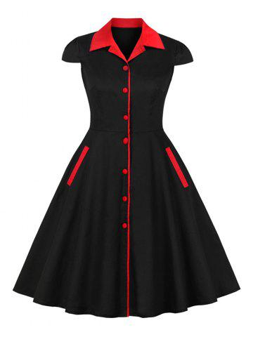 Hepburn Vintage Series Women Dress Spring And Summer Lapel Button Fly Design Short Sleeve Pocket Corset Retro Dress