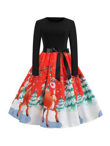 Hepburn Vintage Series Women Dress Spring And Winter Round Neck Christmas Deer Printing Design Long Sleeve Belt Corset Retro Dress