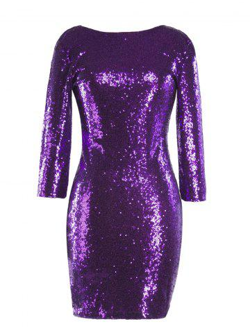 Sequinned Backless Slim One-step Dress