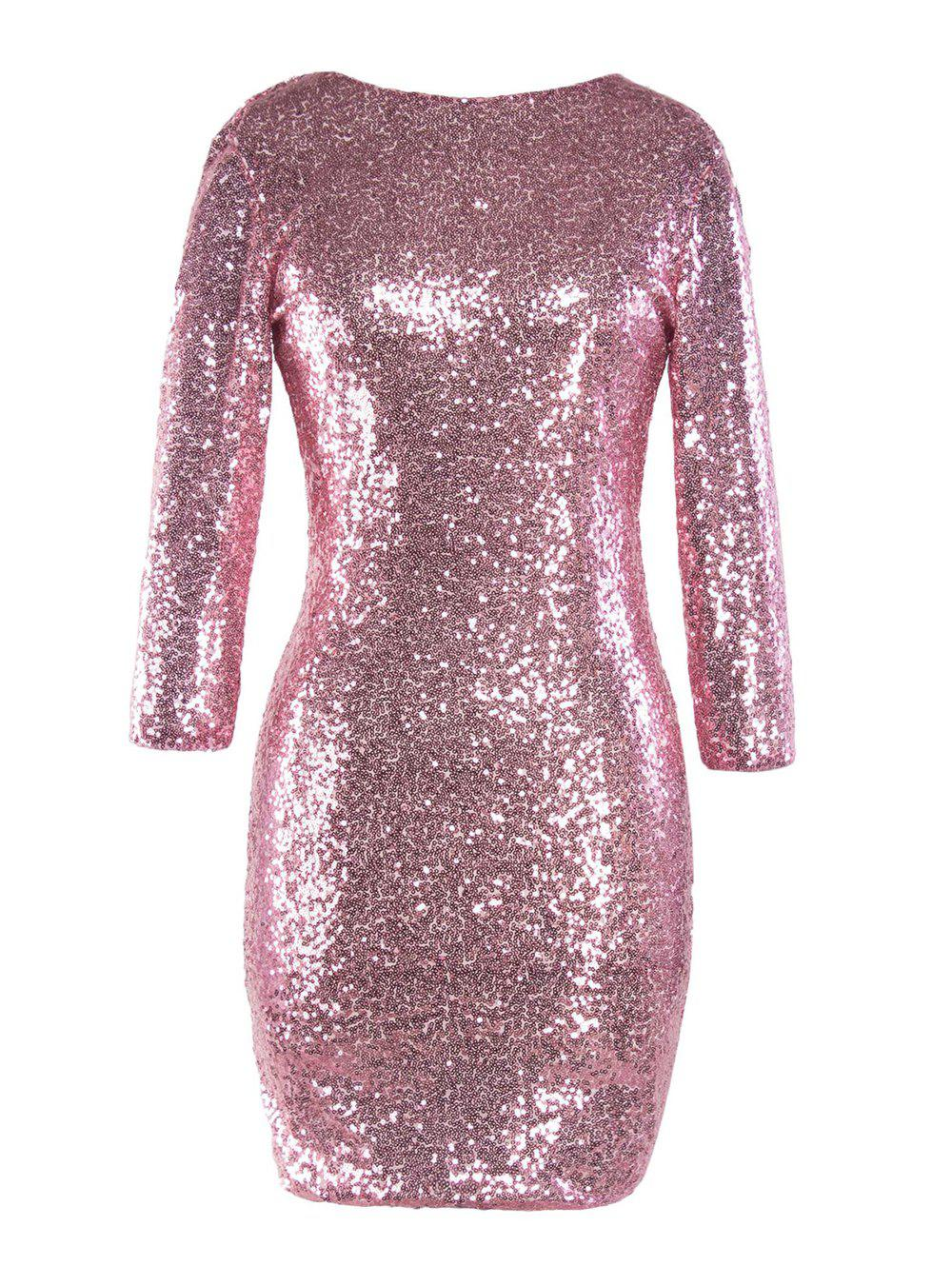 Cheap Sequinned Backless Slim One-step Dress