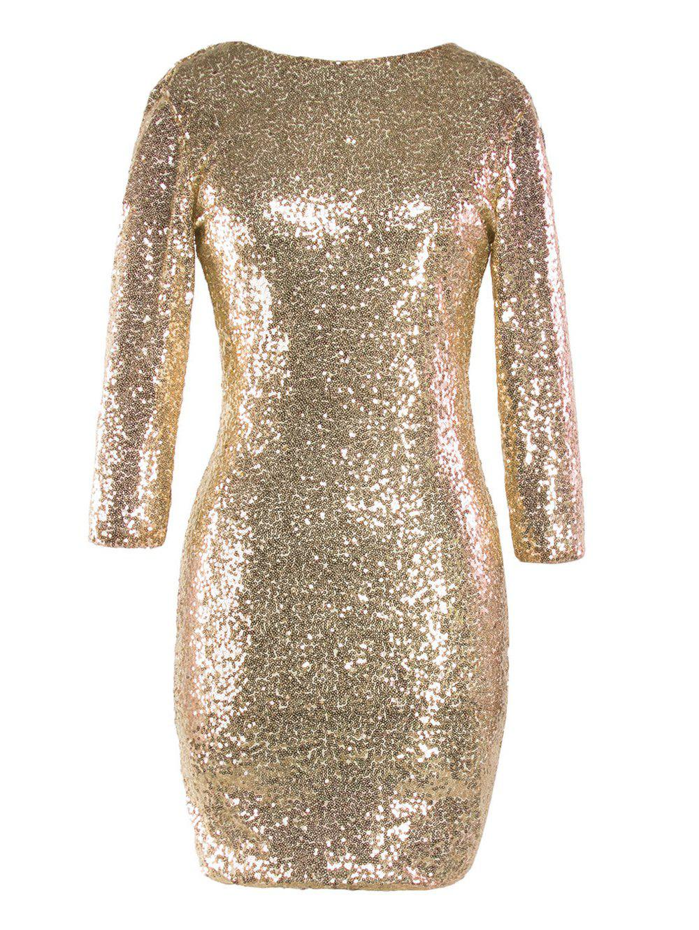Outfit Sequinned Backless Slim One-step Dress