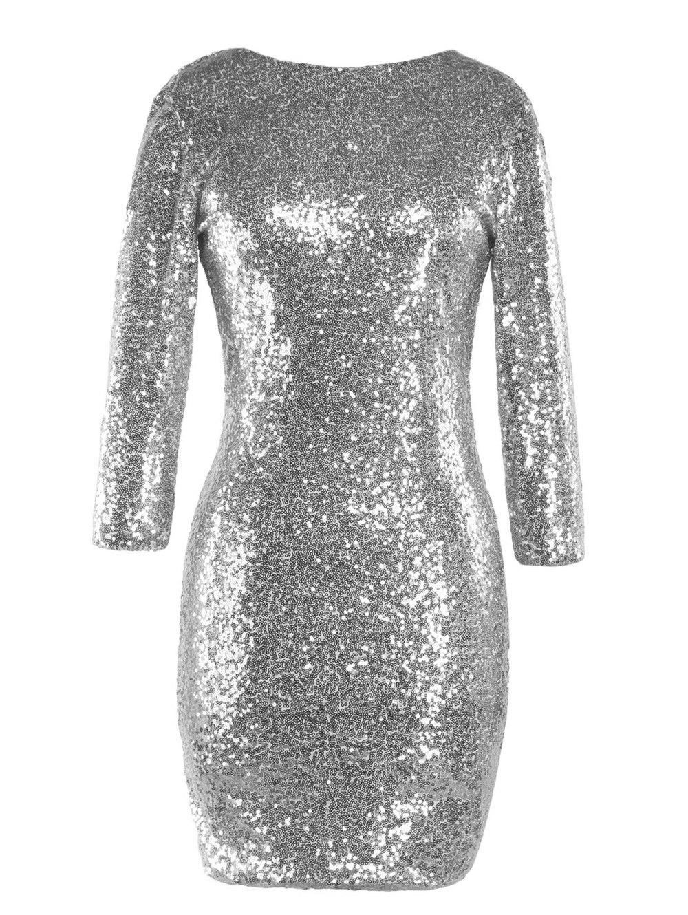 Discount Sequinned Backless Slim One-step Dress