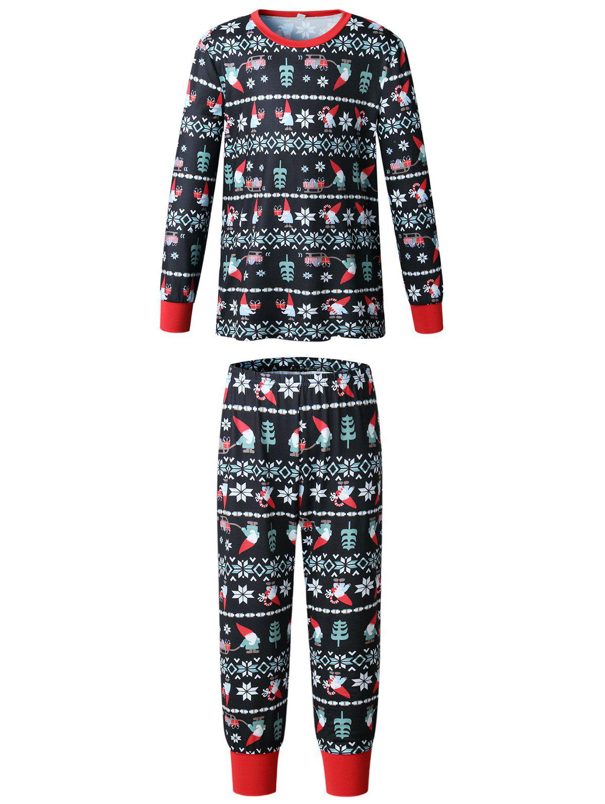 Fashion Christmas Long Sleeves Casual  Print Family Pajama Sets Parent-Child Home Suit Pyjamas