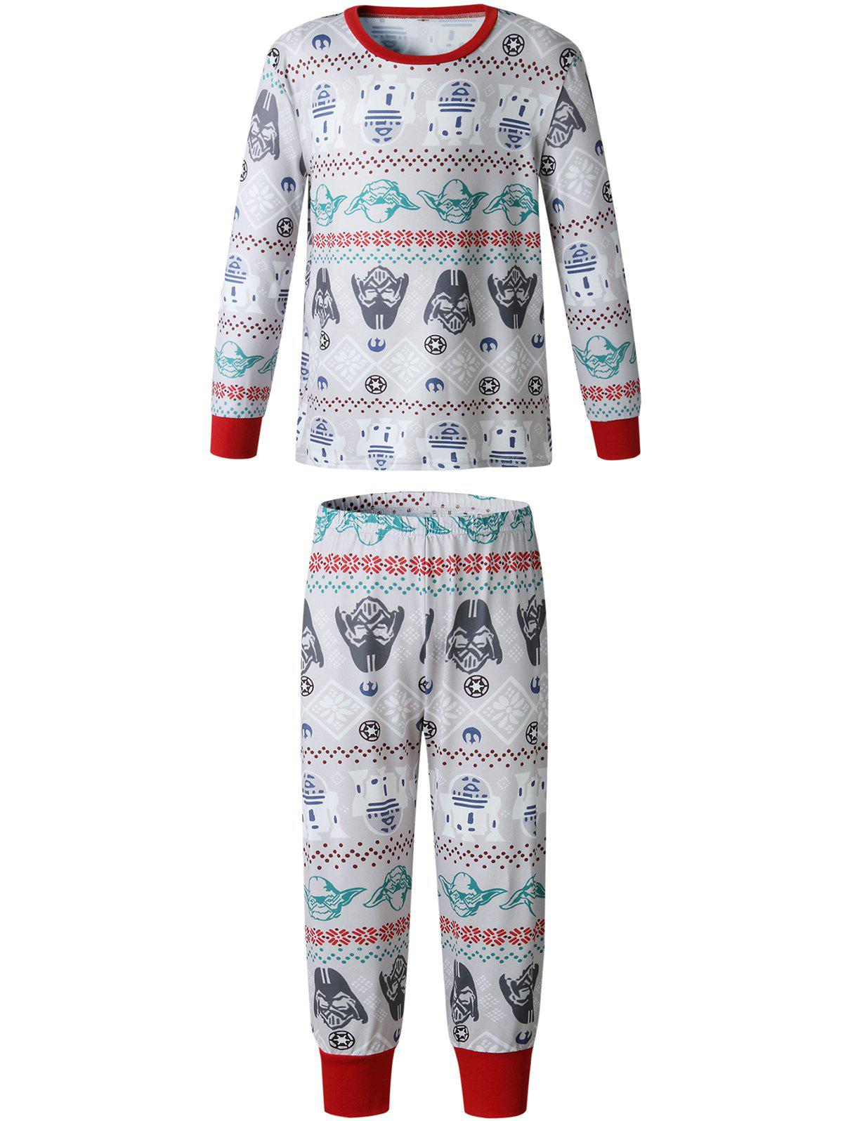 Discount Christmas  Family Pajama Long Sleeves Casual  Print  Sets Parent-Child Home Suit Pyjamas