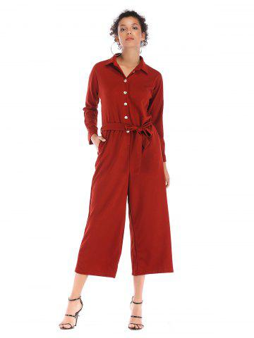 f5c832af238 Single breasted waist beltsolid collars long Lapel Jumpsuits trousers