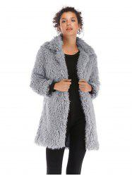 Fluffy Lapel Long Coat 5912 -