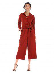 Single breasted waist beltsolid collars long Lapel  Jumpsuits trousers -