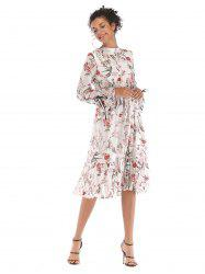 Broken Flower Long sleeves Chiffon Dress  5908 -