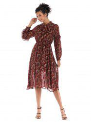 Broken Flower Long sleeves Chiffon Dress 5909 -