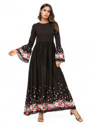 Flared Sleeve Floral Long Dress -